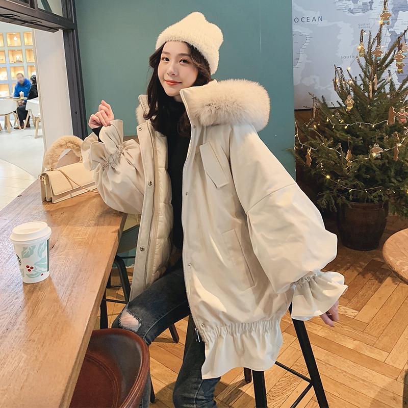 兔耳朵可爱连帽网红色工装棉服女2018新款中长大毛领加厚冬季外套