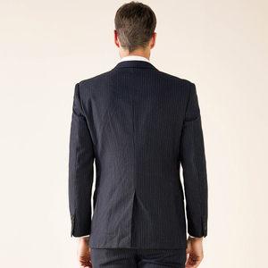 乔治白羊毛条纹时尚西装外套商务职业装西服上衣工作服男黑色西服