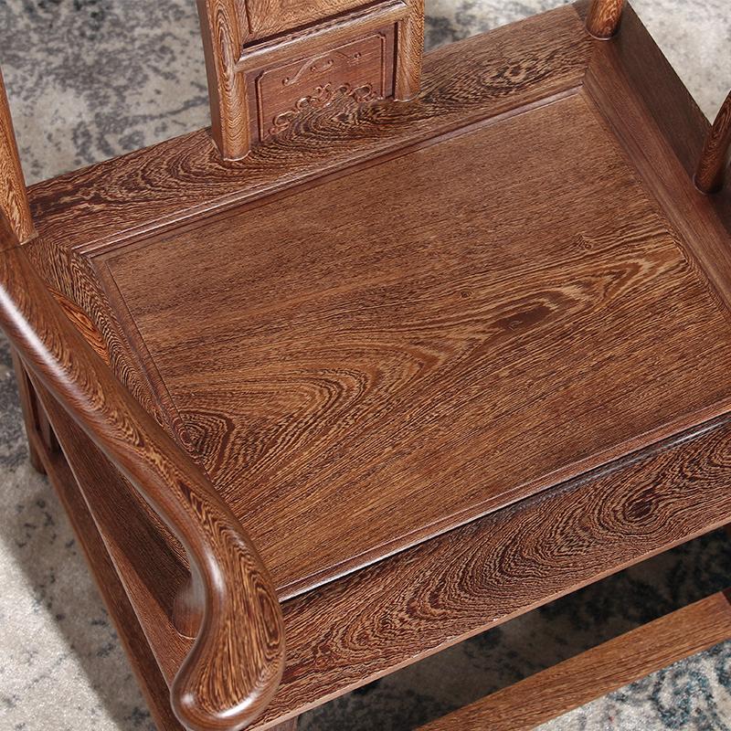 红木家具鸡翅木圈椅中式实木太师椅仿古休闲椅茶椅原木靠背椅