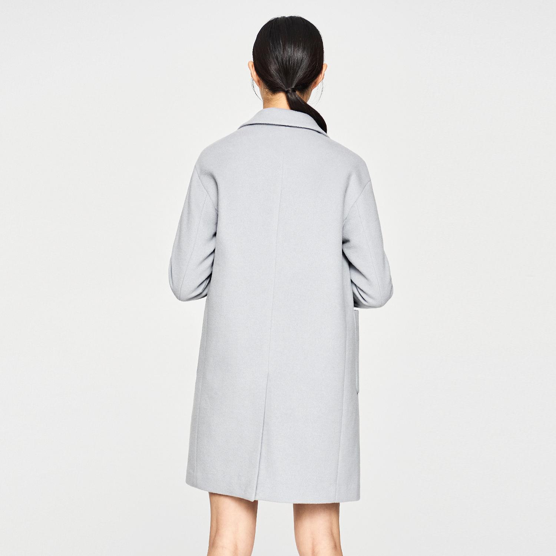 爱居兔冬装宽松直筒纯色中长款毛呢大衣外套高清大图