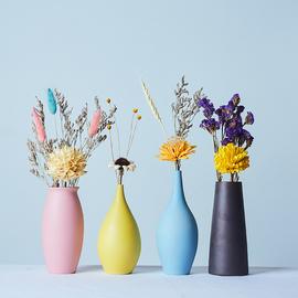 马卡龙小花瓶摆件客厅插花花瓶干花套装北欧风格桌面创意ins装饰