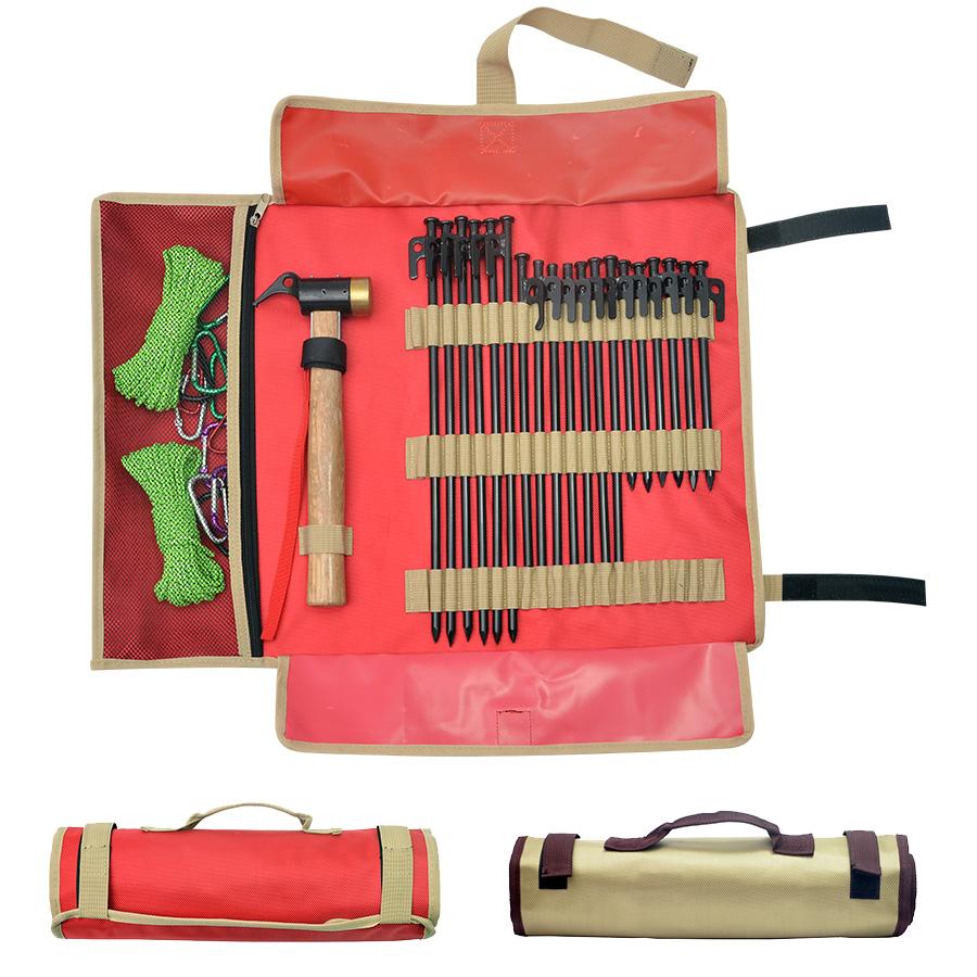 戶外野營地釘收納包錘子帳篷配件整理袋行動式手提簡易營釘工具包