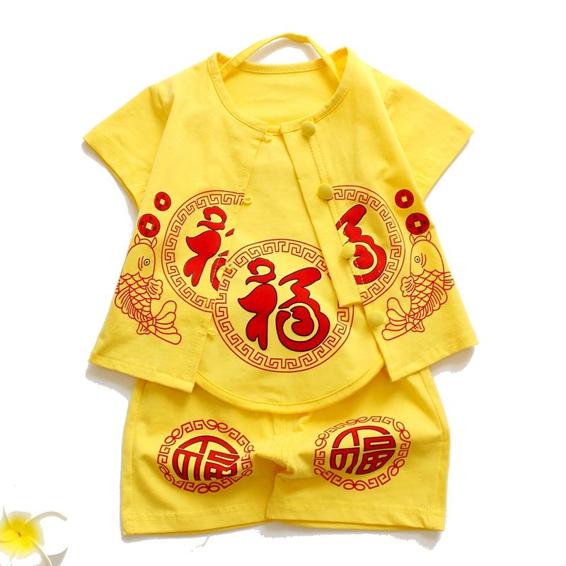 送鞋男女宝宝唐装夏儿童套装秋百天周岁服肚兜3件套纯棉婴幼儿装