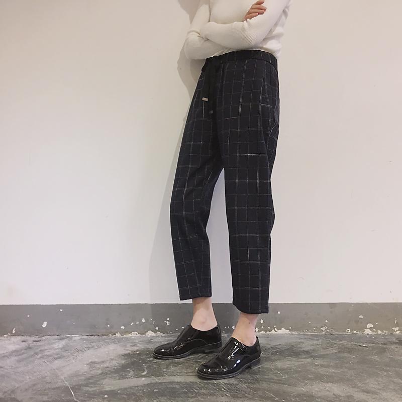 夏季新款韩版复古松紧腰西装裤女大码宽松显瘦九分格子哈伦裤潮