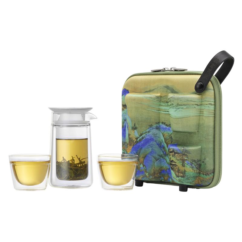 哲品月影千里江山图便携式旅行玻璃功夫茶具套装简约2人家用