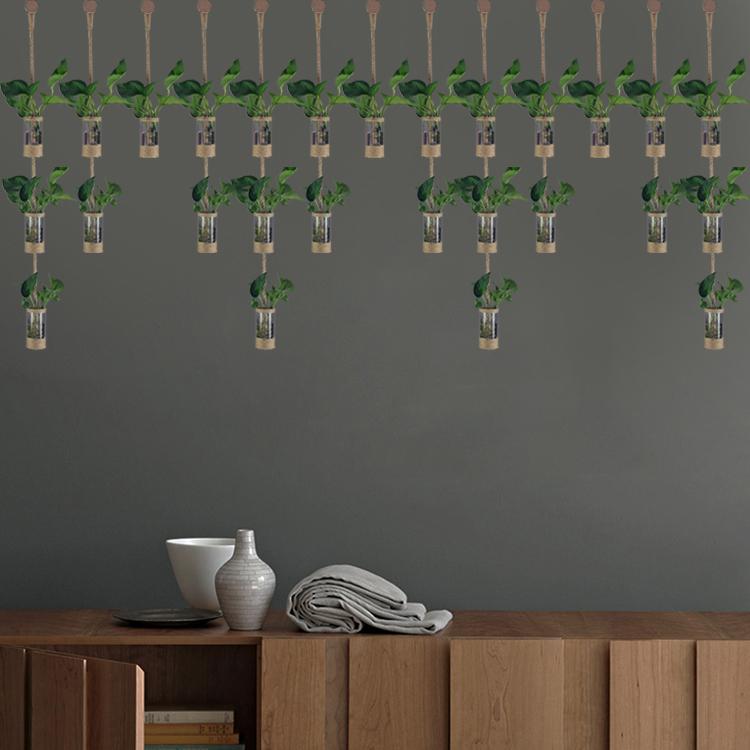 创意DIY装饰花插隔断帘麻绳玻璃水培绿植花瓶店铺家居门厅隔墙【图3】