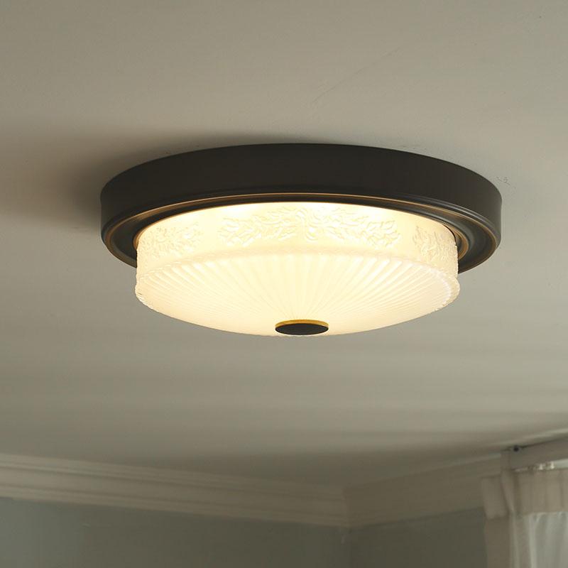 灯饰 变光灯具 LED 仿古美式吸顶灯铁艺玻璃玄关灯小卧室阳台灯黑色