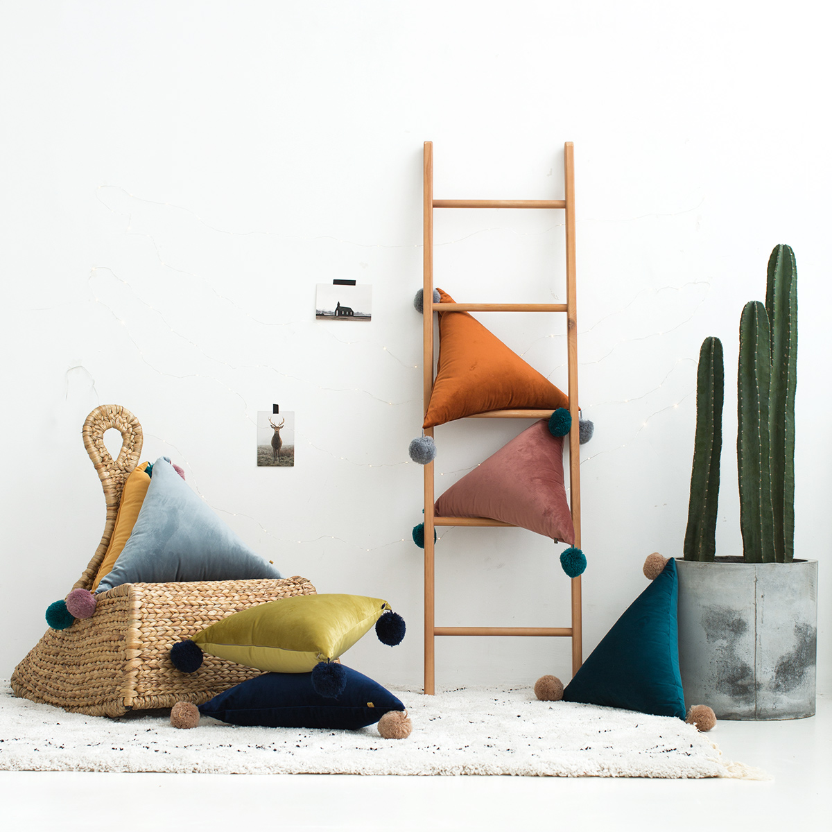 ins民宿輕奢 個性北歐簡約三角抱枕 沙發客廳裝飾辦公室抱枕靠墊