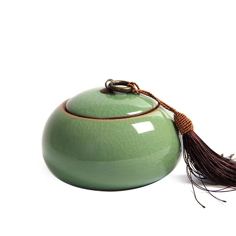 龙泉青瓷大码茶仓盒储存罐陶瓷茶具便携普洱茶密封罐大号装茶叶罐