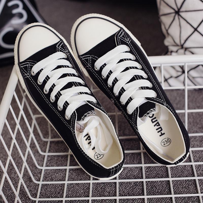 帆布鞋女学生韩版原宿ulzzang环球小白鞋夏街拍百搭情侣港风板鞋