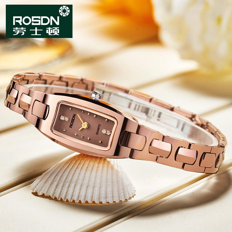 1106 劳士顿表全钨钢石英表高亮度时尚女士腕表手链式手表女表防水