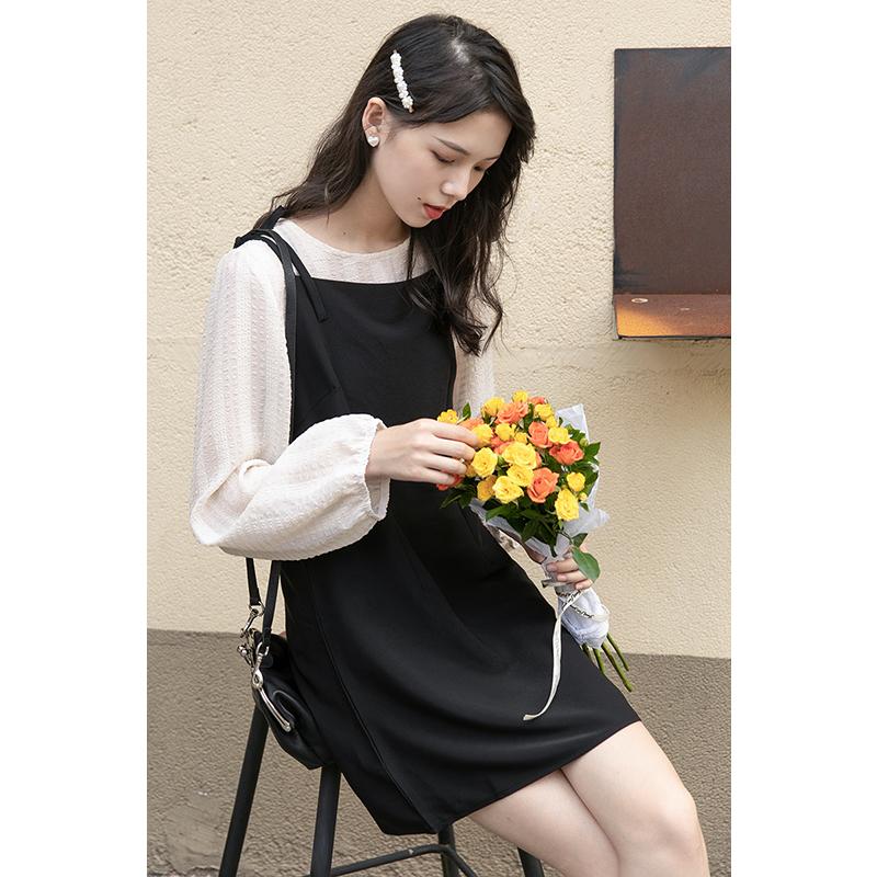 新款春秋长袖黑色裙子