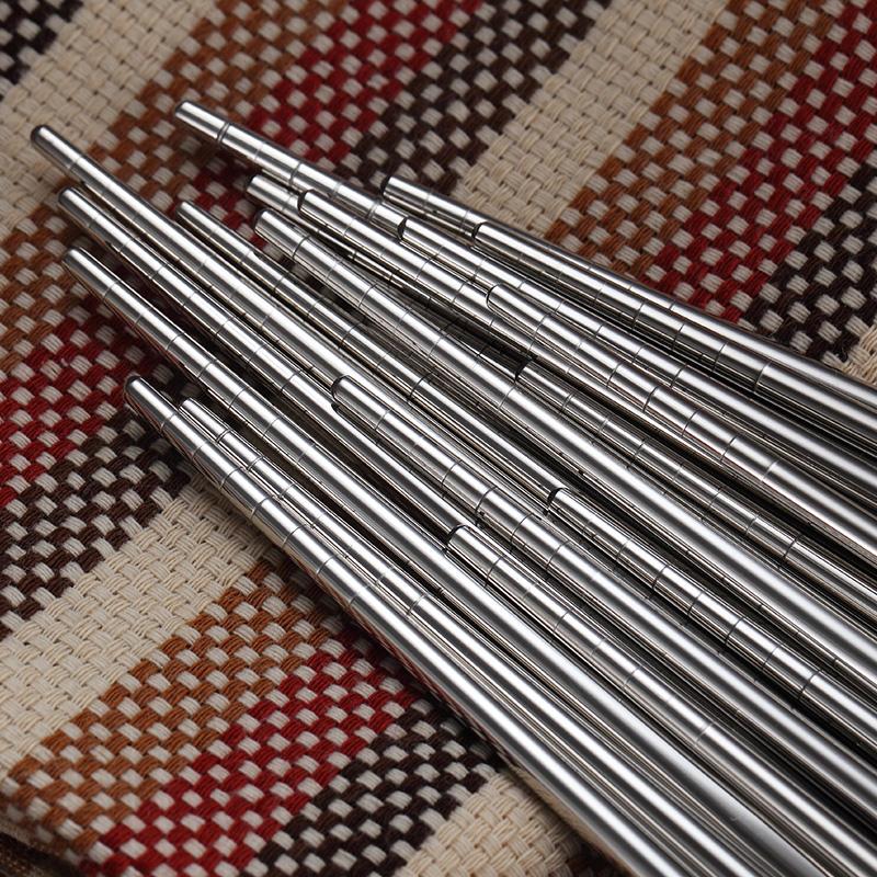 304不锈钢防滑防霉筷子套装家用合金方形金属银筷子家庭10双快子