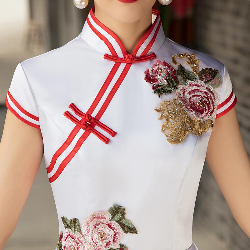 礼仪旗袍颁奖迎宾小姐服长款红色酒店工作服学生合唱演出服长袖女