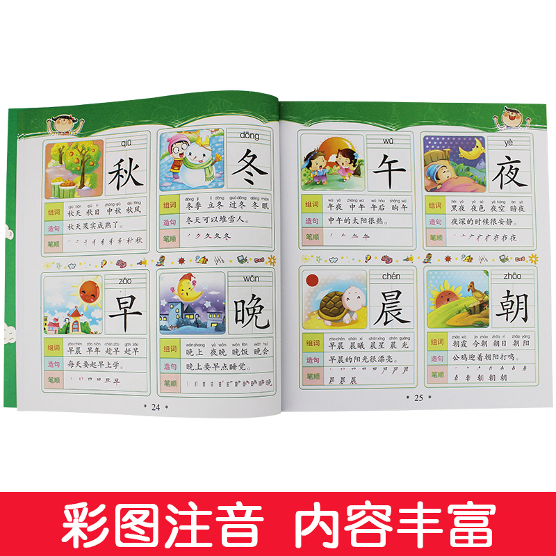 学前1280字4册学龄前儿童看图识字卡片3-6岁认字书 幼儿园教材拼音幼小衔接学前班整合全套大班升一年级启蒙认知早教书籍0-3岁宝宝