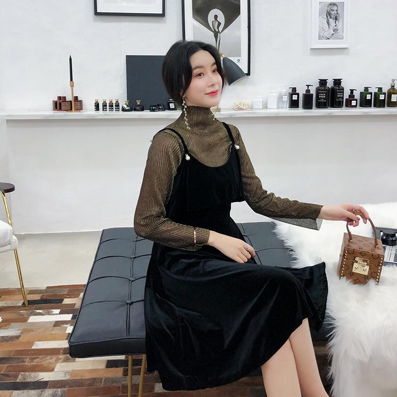 春装女装韩版亮丝长袖气质吊带连衣裙两件套中长款丝绒裙 2018