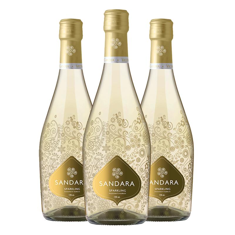西班牙原瓶进口红酒葡萄酒桑德拉甜白起泡酒750ml*3