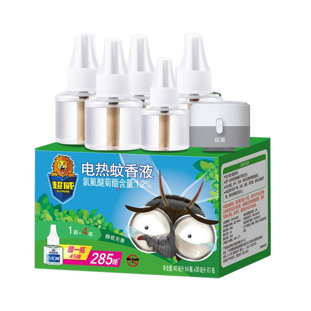 包邮超威驱蚊电蚊香液无香无味5瓶1器285晚家庭家用灭蚊插电蚊香