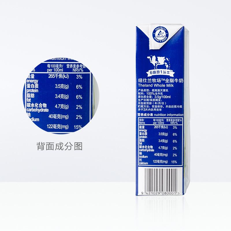 新西兰原装进口牛奶纽仕兰全脂纯牛奶250ml*24盒高钙早餐奶