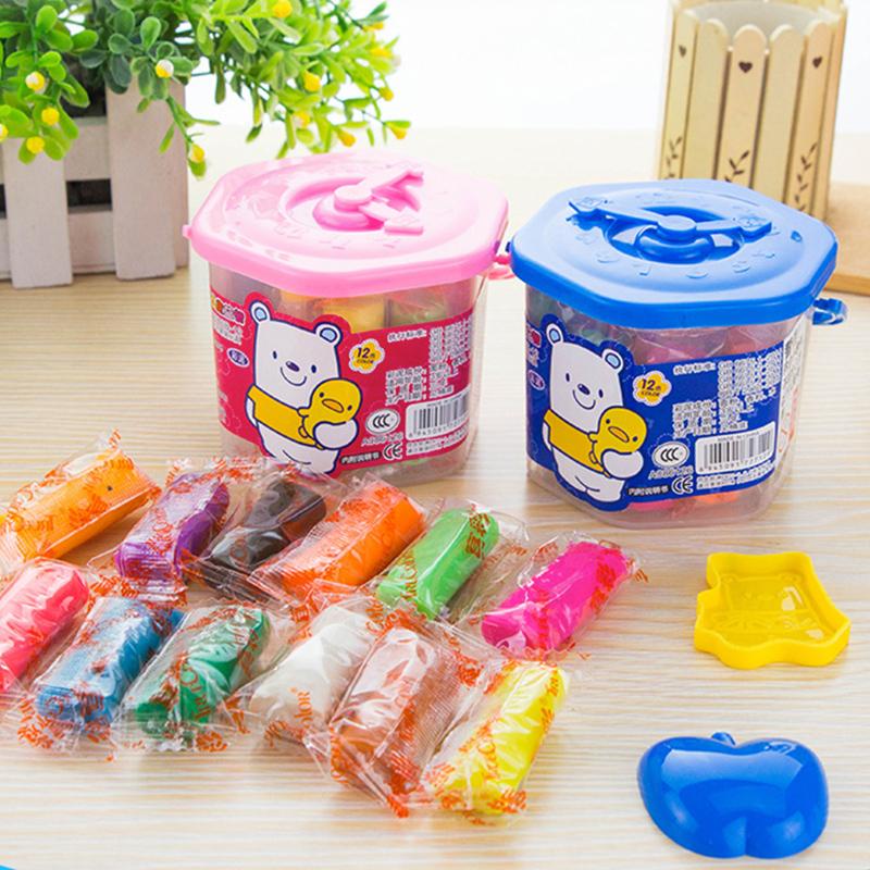 真彩12色彩泥橡皮泥黏土儿童玩具套装环保无害益智内带模具桶装