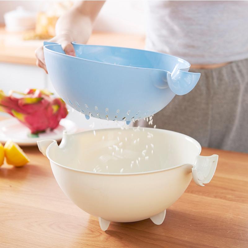 个装妙然双层沥水篮洗米筛菜篮滤水盆淘米萝水果洗菜篮子 2