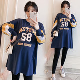 Add fertilizer to increase the size of the pregnant women's sweater women spring and autumn 2019 new tide loose Korean version of the long T-shirt 200 kg