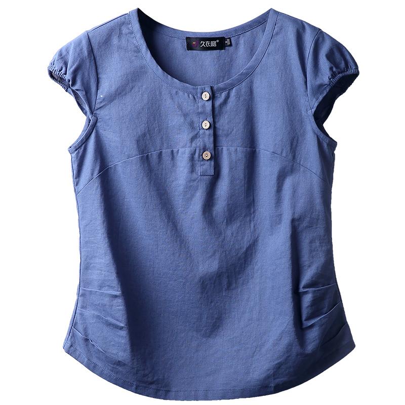 夏装森女上衣 棉麻打底衫韩版宽松衬衫显瘦短袖T恤女百搭休闲体恤