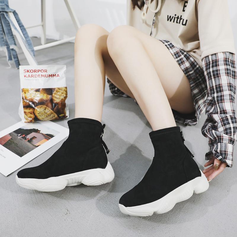 马丁靴女冬季2018新款韩版百搭套脚短靴休闲高帮鞋加绒厚低女靴子