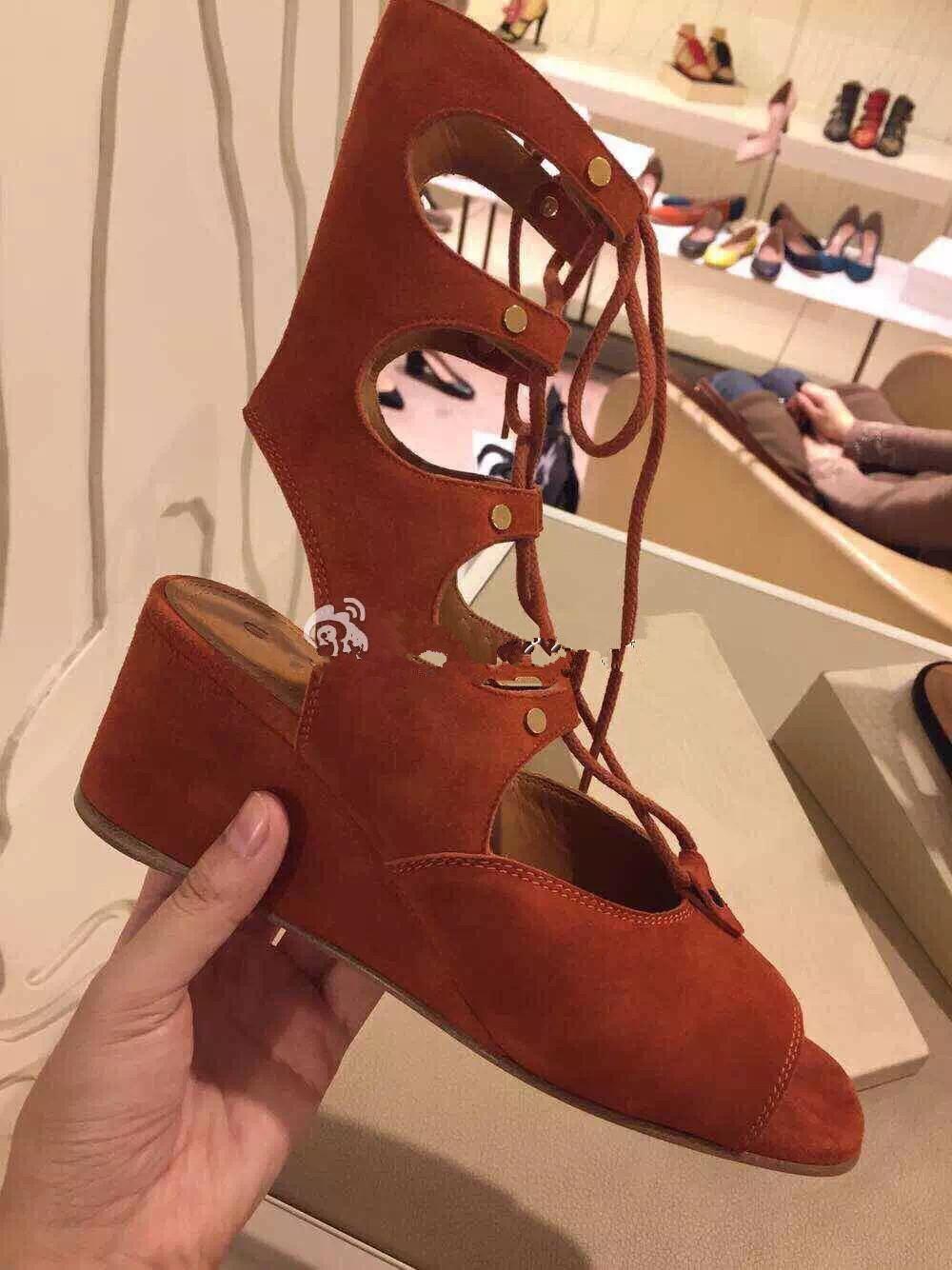 2017欧美升级版真皮绑带镂空系带坡跟凉鞋露趾鱼嘴中筒罗马凉鞋靴