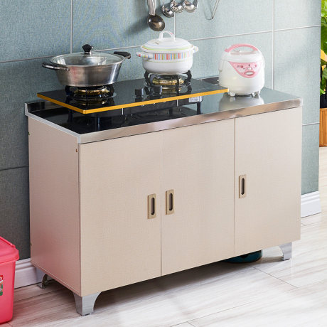 Simple Kitchen Stove Cabinet Gas Stove Stainless Steel Stove Cabinet Mobile Kitchen Gas Stove Cabinet Cabinet
