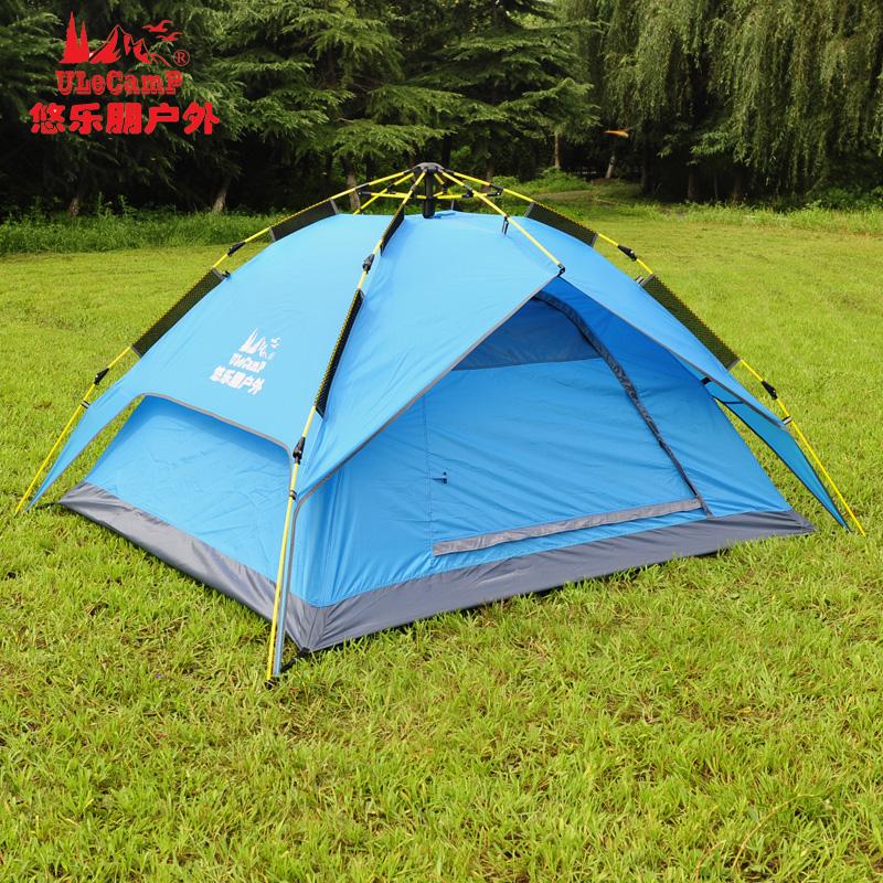 戶外自動帳篷 3-4人防暴雨四季遮陽帳全自動雙層家庭出遊野營帳蓬