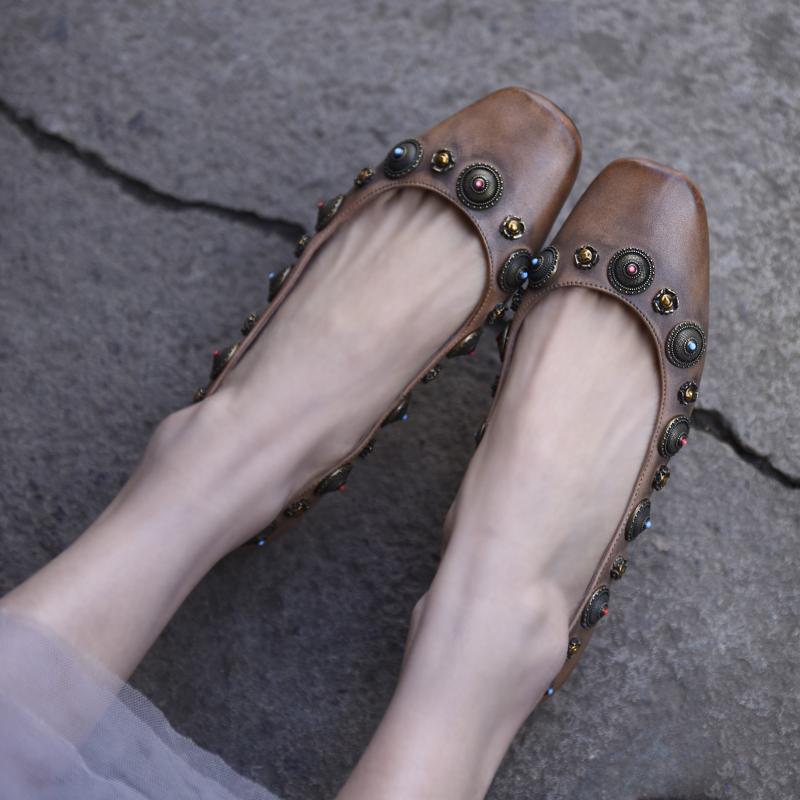 阿木原创复古手工鞋浅口单鞋女平底豆豆鞋民族风真皮女鞋子 Artmu