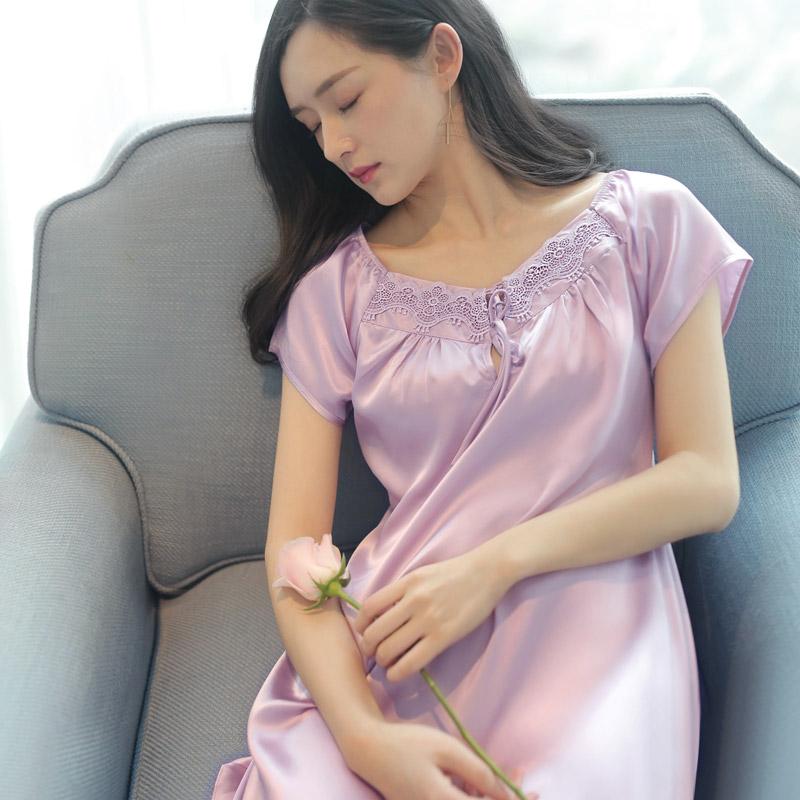 睡裙女夏薄款冰丝绸短袖性感女士裙子春秋大码可外穿仿 真丝睡衣
