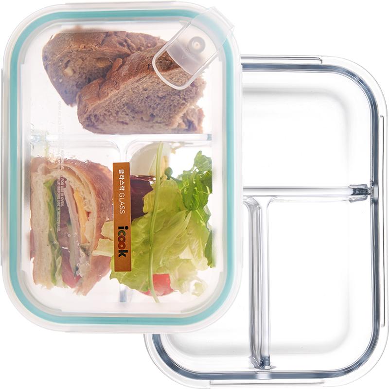 iCook玻璃饭盒便当盒分隔微波炉保鲜盒学生带盖韩国上班带饭盒女