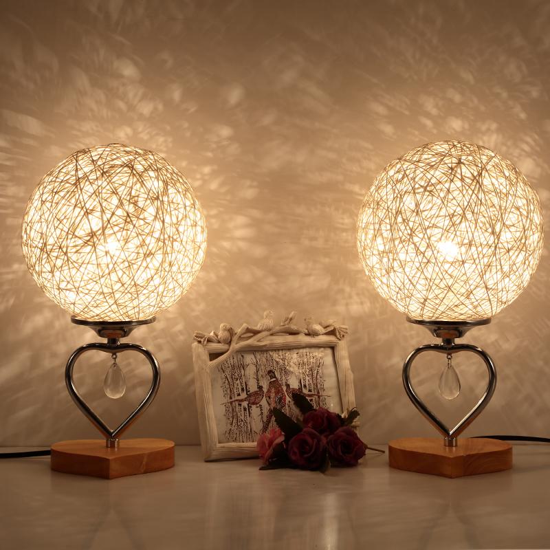 结婚台灯温馨浪漫红色一对婚房喜庆创意礼物新婚长明卧室床头灯饰