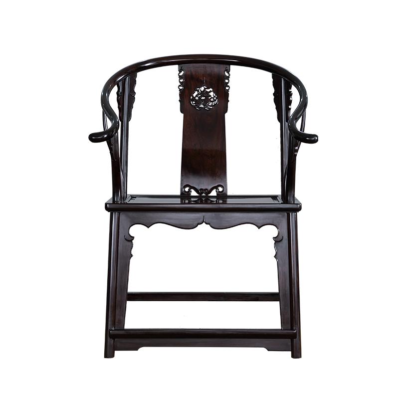 艺盟百胜紫光檀红木圈椅三件套王世襄款明式麒麟椅子苏作家具实木