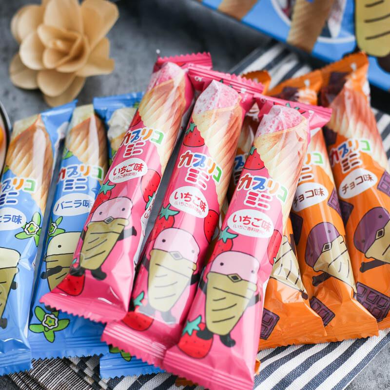 日本进口格力高固力果蛋筒巧克力甜筒夹心蛋卷饼干冰淇淋雪糕筒