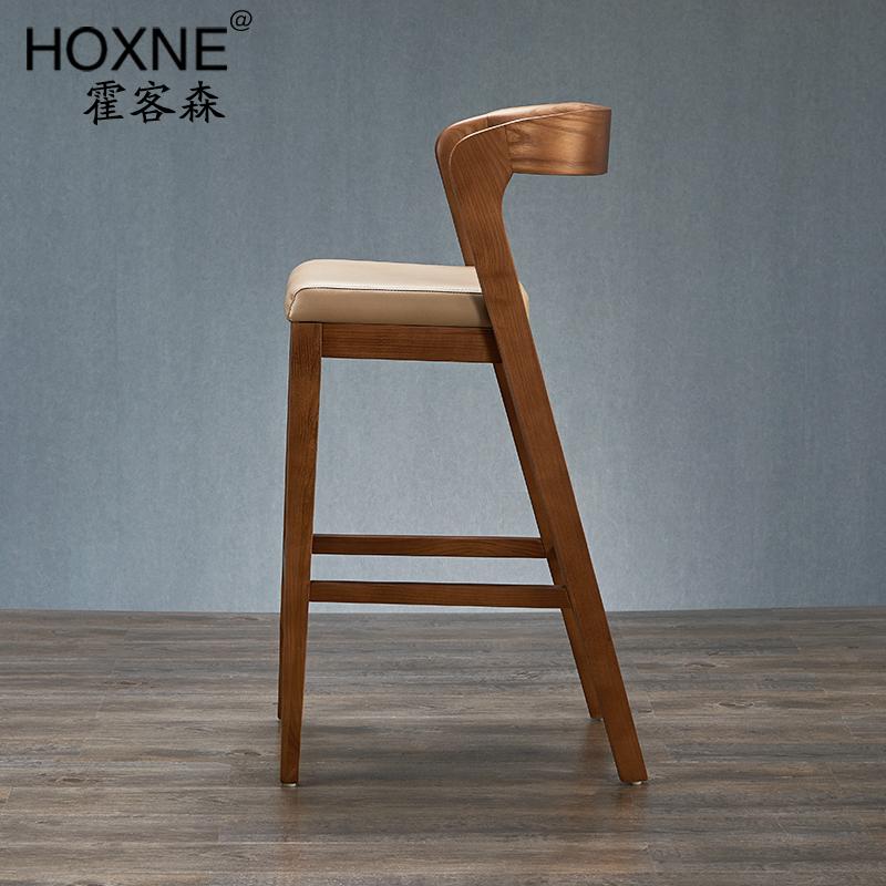 霍客森北欧实木吧椅吧凳靠背扶手皮软垫中式原木酒吧吧台高脚椅子