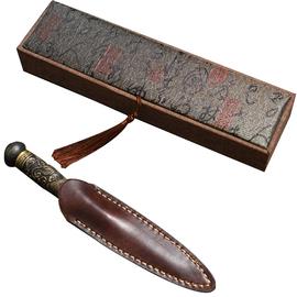 龙泉茶刀普洱茶刀专用大马士革茶针茶锥纯手工花纹钢古马撬切茶刀
