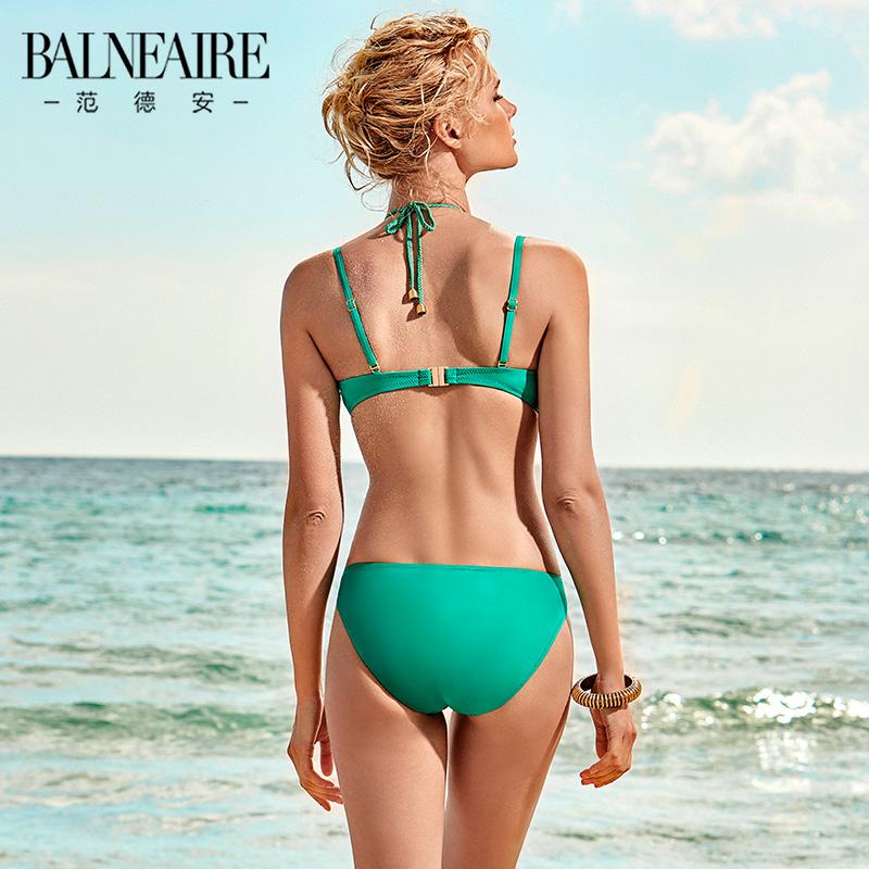 范德安ins比基尼泳衣女抗氯防晒度假游泳衣 性感显瘦分体时尚泳装