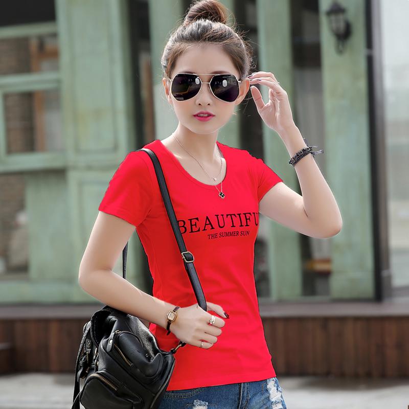 短袖t恤女夏装韩版纯棉修身体恤简约半袖打底衫字母白色百搭上衣
