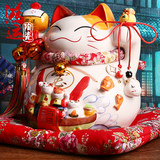 Japan Genuine Lucky Cat Decoration 14 Inch Extra Large Gas Tank Piggy Bank Ceramic Shop Opening Creative Gift