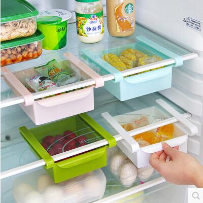 抽拉式冰箱保鮮收納置物盒 廚房抽動分類置物盒儲物架收納架