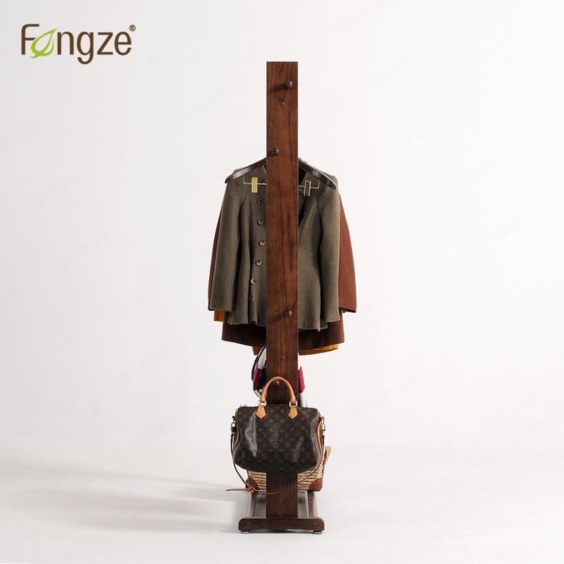 Fengze简约现代实木衣帽架落地衣架卧室创意室内玄关挂衣架FZ-916