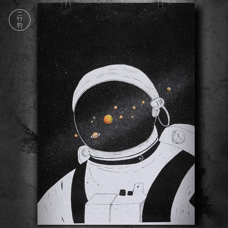 一行物原创艺术画 宇航员 黑白 Risograph 现代简约ins北欧装饰画