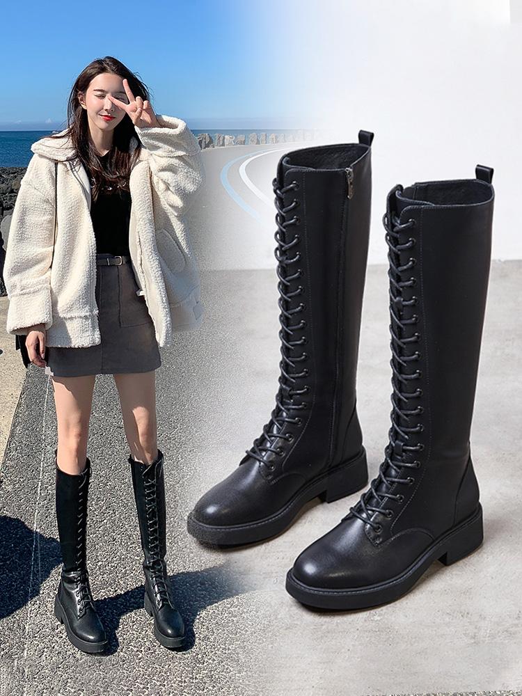 艾斯臣长筒靴女马靴秋冬季高筒粗跟及膝靴系带不过膝长靴骑士靴子