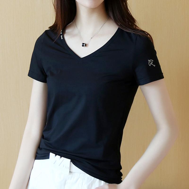 V领短袖T恤女修身纯白2019夏季新款纯色简约半袖显瘦棉打底衫体恤