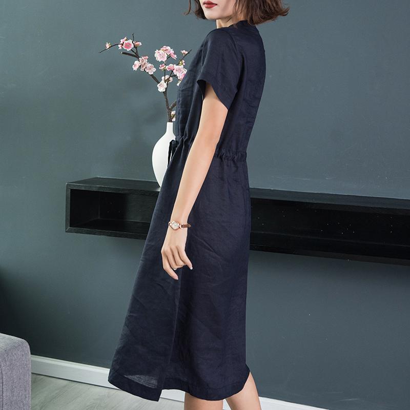 V領系帶收腰短袖棉麻亞麻連衣裙女中長裙2020夏季新款麻料裙子