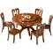 意特尔实木圆形餐桌中式家用全实木圆餐桌饭桌橡木圆桌餐桌带转盘
