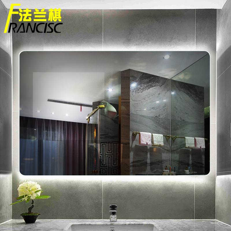 壁挂卫生间洗手台卫浴镜子 灯镜 LED 无框浴室镜智能触摸屏除雾防雾